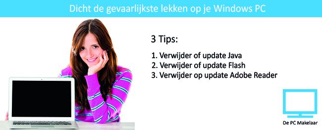 3tips gevaarlijke lekken dichten op windows pc